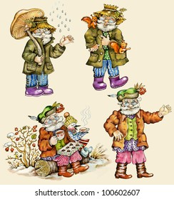 Little funny forest old man characters autumn collection. Hand painted, isolated on buff background.