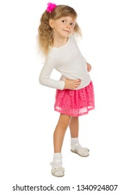 Little funny girl isolated on white