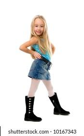 Little funny girl posing over white background