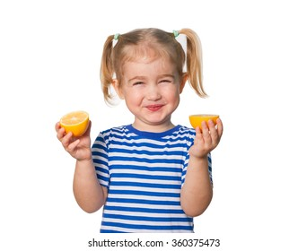 Little Funny girl in striped shirt  keeps lemons. Isolated on white background