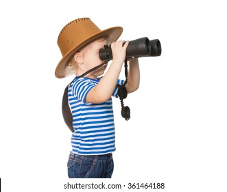 Little Funny girl in striped shirt and hat looking through binoculars. Isolated on white background