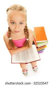 Little funny schoolgirl