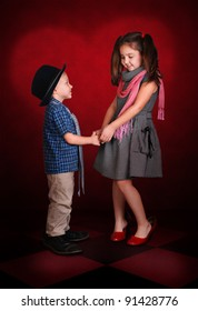 Little gentleman make a confession in love for his sweetheart lady