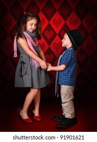 Little gentleman make a confession in love for his girlfriend