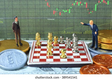 The little gentlemen are thinking in investment battle.  business investment strategy concept