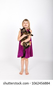 little gild holding a tortoiseshell cat in her arms