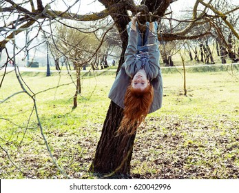 Little ginger girl hanging upside down on a tree in a park