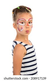 Little Girl With Abstract  Face Painting, Isolated