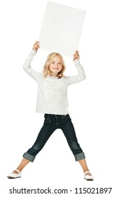 Little girl activity/A girl holding a white sign above his head
