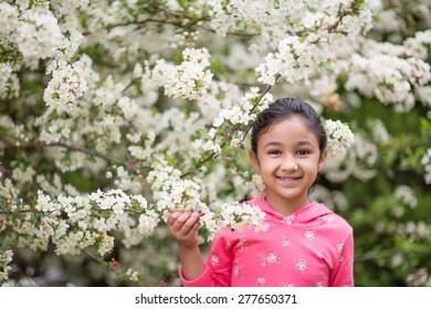 Little Girl Admiring Spring Flowers