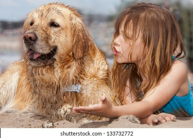 little girl arguing with her dog