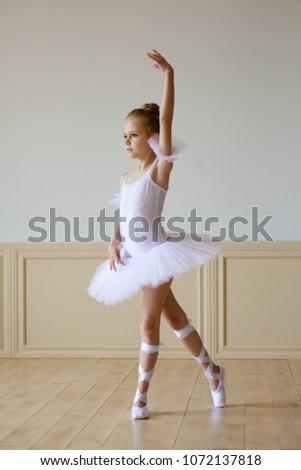 7c40fb8eb9de Little Girl Ballerina White Tutu On Stock Photo (Edit Now ...