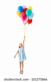Little girl with balloons on a white background