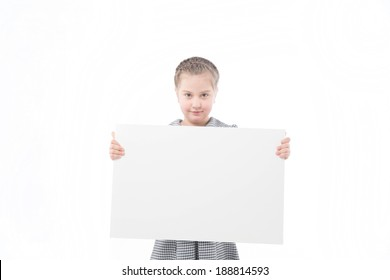 The little girl with a banner on a white background