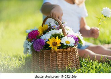 little girl with a basket of flowers in the park
