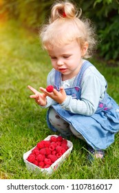 little girl with a basket full of raspberries