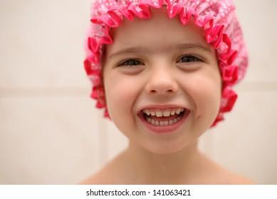 Little girl bathing
