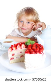 little girl with a beautiful birthday cake and tea on a white isolated background