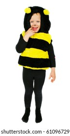 Little girl in bee castume with happy funny face staying isolating on the white.