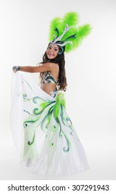 Little girl bellydancer in green costume portrait