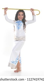 Little girl bellydancer in white costume with cane portrait
