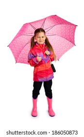 Little girl with big pink umbrella, winking and showing thumb up