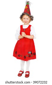 Little girl in birthday hat at a party. Nice beautiful three years  birthday girl in red dress isolated on the white.