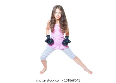 little girl with black boxing gloves isolated on white