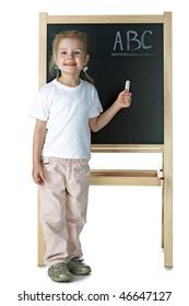 little girl and blackboard on white background