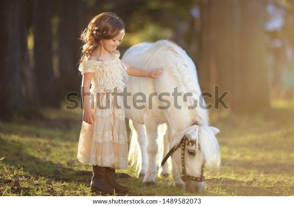 Little Girl Blond Hair Beautiful Dress Stock Photo Edit Now