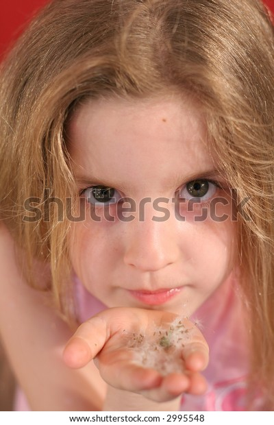 little girl blowing flowers upclose