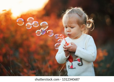 Little girl blowing soap bubbles in autumn park at sunset. Happy childhood concept.