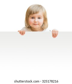 little girl with board isolated on a white background