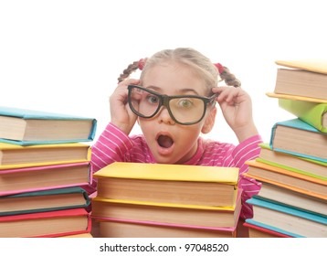 a little girl and books, back to school concept, isolated over white