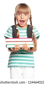 Little girl with books isolated on white background
