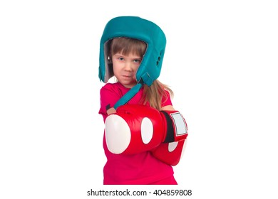 Little girl in boxing gloves and boxing helmet posing isolated on white background