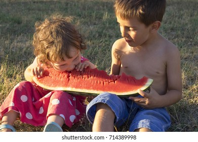 Little girl and boy eating giant slice of ripe summer watermelon, sitting on the grass at sunset