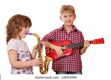 little girl and boy play music