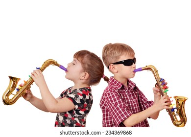 little girl and boy playing saxophone