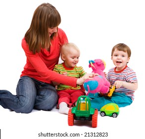 Little girl and boy playing together with mother. Isolated over white