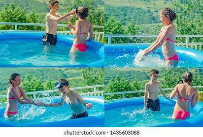 Little girl and boy in swimming pool on sunny day