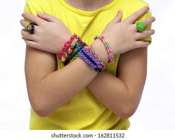 Little girl with bracelets