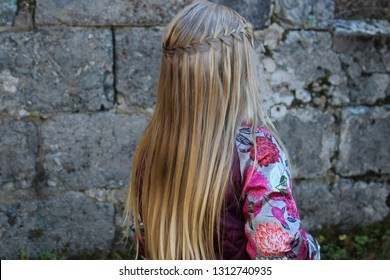 A little girl with braided hairstyle