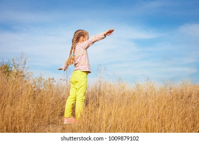 Little girl in bright clothes standing against the sky in a field