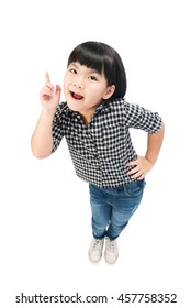 little girl with a bright idea pointing upwards with her finger to gain attention. Isolated on white with clipping path.