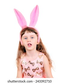 Little Girl with Bunny Ears Isolated on the White Background