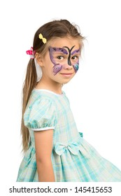 Little Girl With Butterfly Face Painting, Isolated