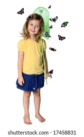 Little girl with butterfly net and butterflies isolated on white