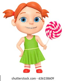 Little girl with candy on a white background. 3d render illustration.