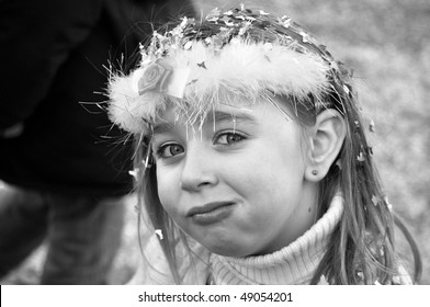 Little girl at a carnival party parade